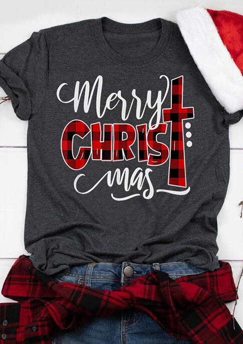 Plaid Christ Merry Christmas T-Shirt Tee -  Gray