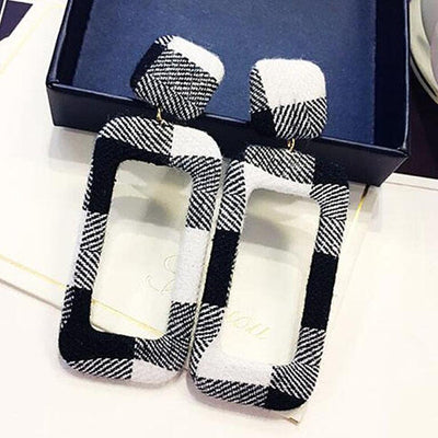 Plaid Rectangular-Shaped Stylish Earrings
