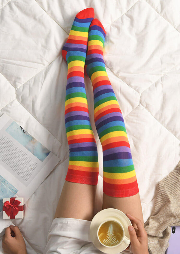 Rainbow Striped Thigh-High Socks