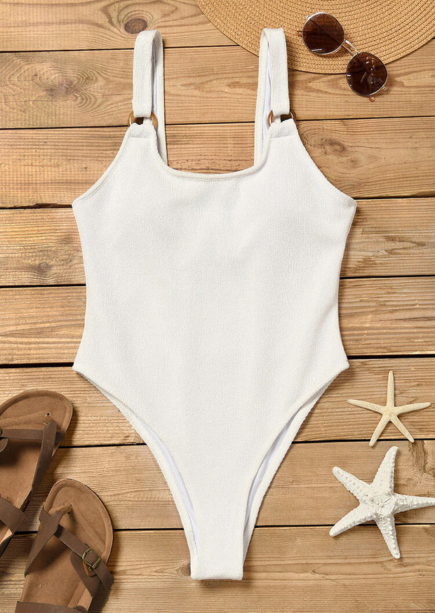 Button One-Piece Swimsuit without Necklace - White