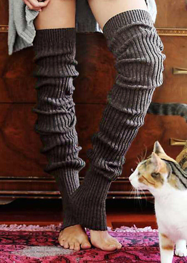 Solid Thickened Warm Thigh-High Knitting Socks