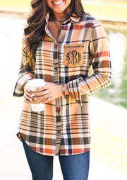 Monogrammed Plaid Button Pocket Asymmetric Shirt