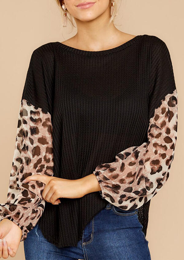 Leopard Printed Splicing Blouse - Black