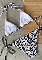 Leopard Printed Color Block Splicing Tie Halter Bikini Set