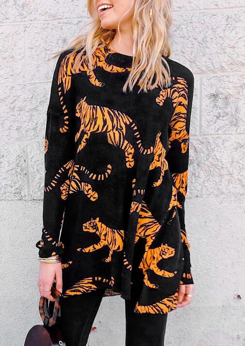 Tiger Slit Long Sleeve Mini Dress - Black
