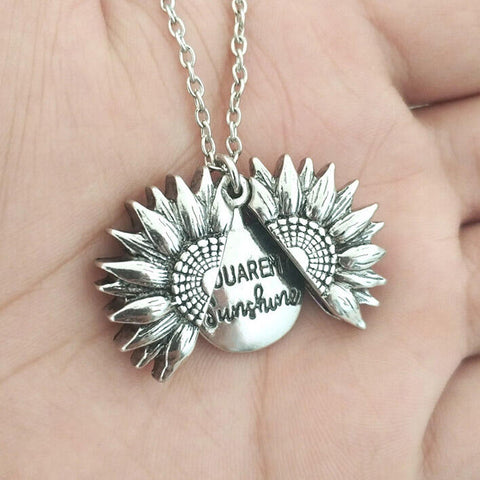 Keep Fucking Going Sunflower Locket Pendant Necklace