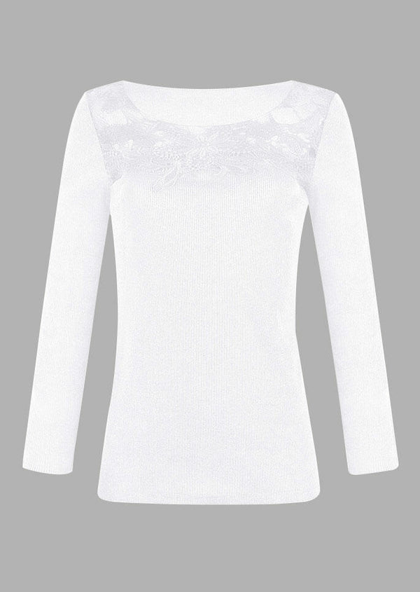 Lace Splicing Hollow Out Blouse without Necklace - White