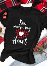 Valentine Plaid Splicing You Warm My Heart T-Shirt Tee - Black