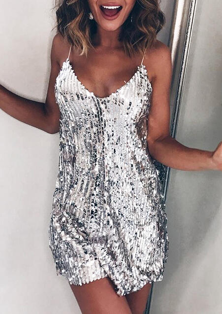 Sequined Spaghetti Strap Mini Dress - Silver