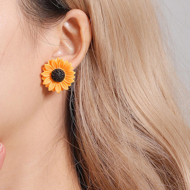 3 Pieces/Set Women's Sunflower Necklace and Earrings Set