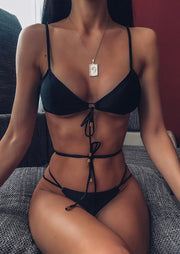 Criss-Cross Ring Tie Bikini Set without Necklace - Black