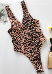 Leopard Printed Ring Splicing One-Piece Swimsuit - Khaki