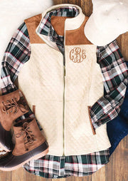 Monogrammed Color Block Pocket Sleeveless Vest Coat - Cream