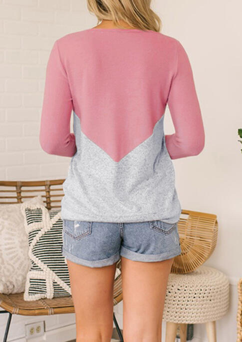 Color Block Long Sleeve T-Shirt Tee - Pink