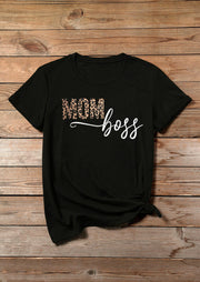 Leopard Printed Mom Boss T-Shirt Tee - Black