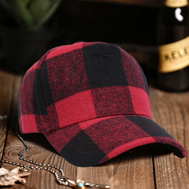 Plaid Adjustable Buckle Strap Baseball Hat