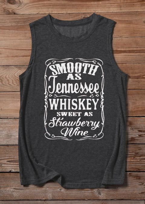 Smooth As Tennessee Whiskey Sweet As Strawberry Wine Tank - Dark Grey