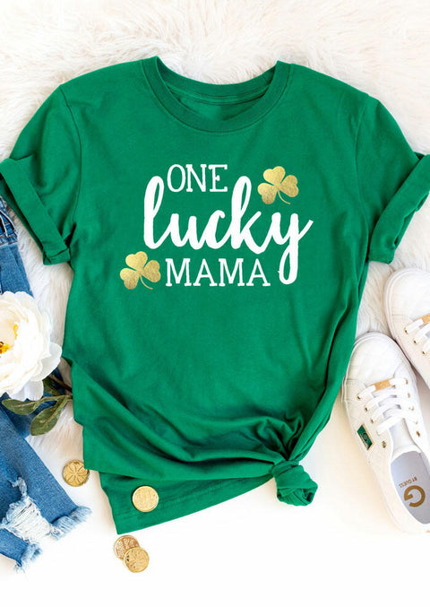 One Lucky Mama Shamrock T-Shirt Tee - Green