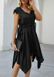Irregular Drawstring Casual Dress without Necklace - Black