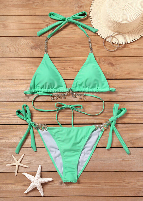Rhinestone Starfish Tie Halter Bikini Set - Light Green