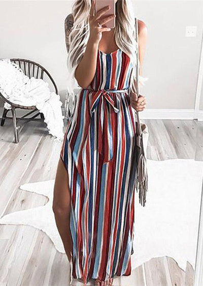 Colorful Striped Slit Spaghetti Strap Maxi Dress