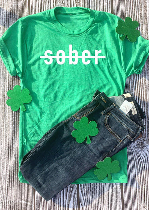 St. Patrick's Day Sober T-Shirt Tee - Green