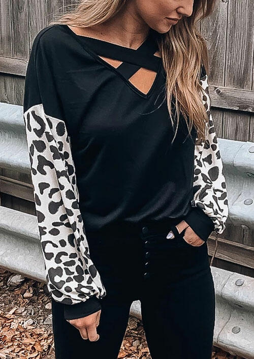 Leopard Printed Splicing Criss-Cross Blouse - Black