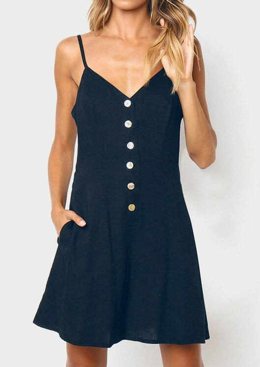 Button Spaghetti Strap Pocket Mini Dress without Necklace - Deep Blue