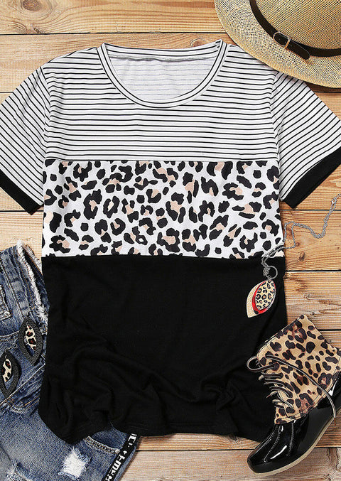 Leopard Printed Striped Splicing T-Shirt Tee - Black