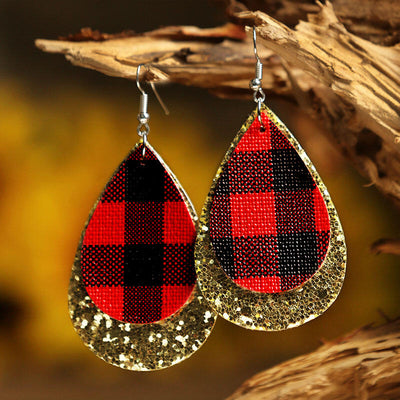 Plaid Sequined Dual-Layered Leather Earrings