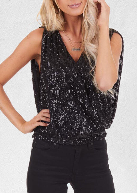 Sequined Open Back Tank without Necklace - Black