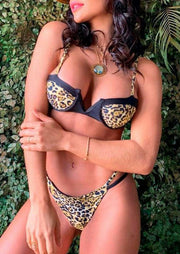 Leopard Printed Splicing Sexy Bikini Set without Necklace