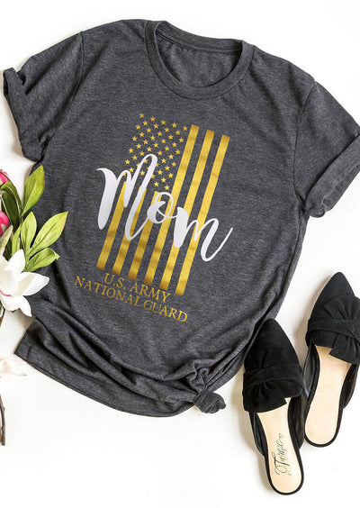 Military Mom American Flag T-Shirt Tee - Gray