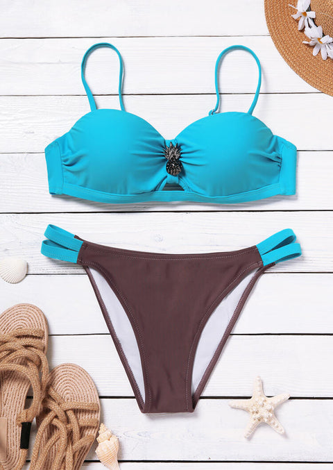 Color Block Hollow Out Ruffled Pineapple Bikini Set - Blue