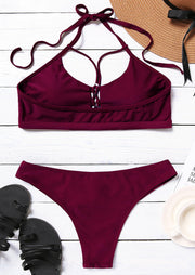 Hollow Out Halter Sexy Bikini Set - Burgundy