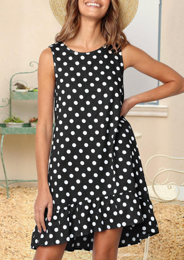 Polka Dot Ruffled Mini Dress - Black