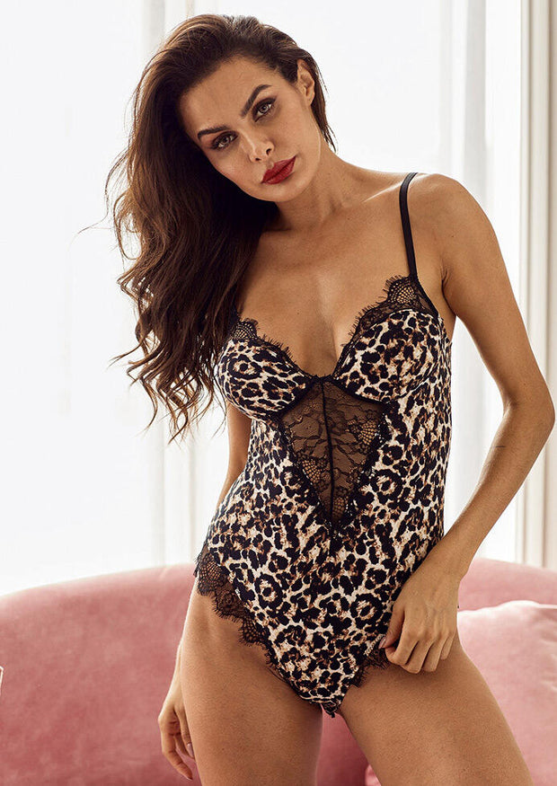 Lace Leopard Printed Splicing Hollow Out Lingerie