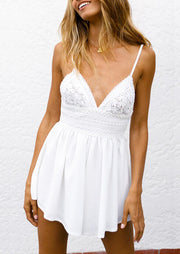 Lace Splicing Spaghetti Strap Romper without Necklace - White