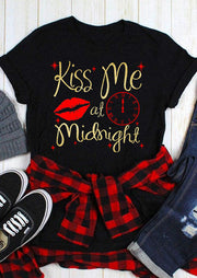 Valentine Kiss Me At Midnight T-Shirt Tee - Black