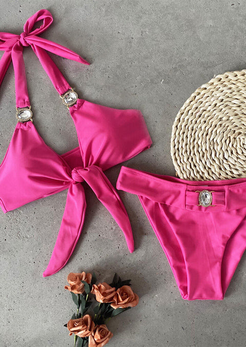 Shiny Rhinestone Tie Halter Bikini Set without Necklace - Rose Red