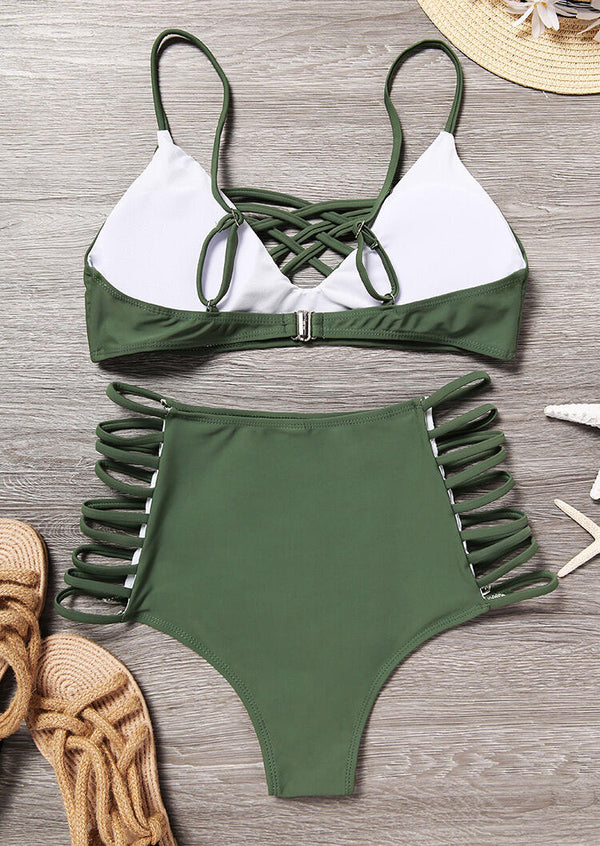 Criss-Cross Hollow Out Bikini Set - Green