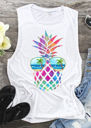 Colorful Pineapple Sunglasses Beach Tank - White