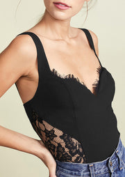 Lace Splicing Zipper V-Neck Camisole - Black