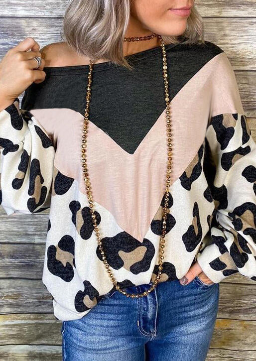 Color Block Leopard Printed Splicing Blouse without Necklace