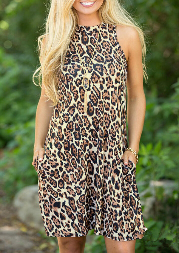 Leopard Printed Pocket Sleeveless Mini Dress without Necklace