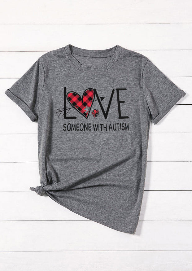 Plaid Printed Love Someone with Autism T-Shirt Tee - Gray