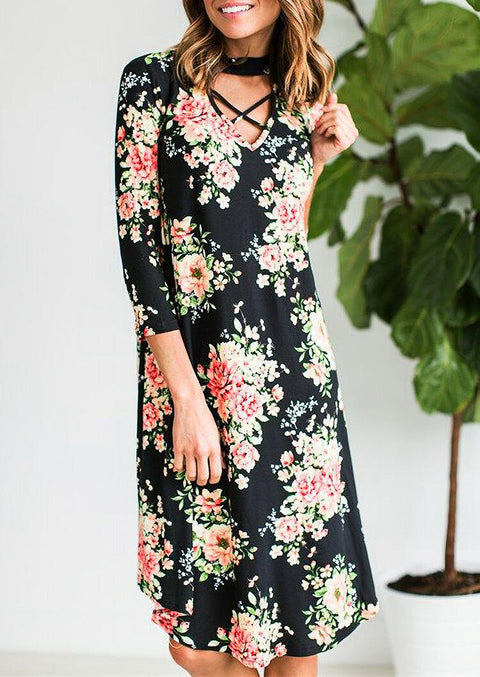 Floral Criss-Cross Halter Casual Dress - Black