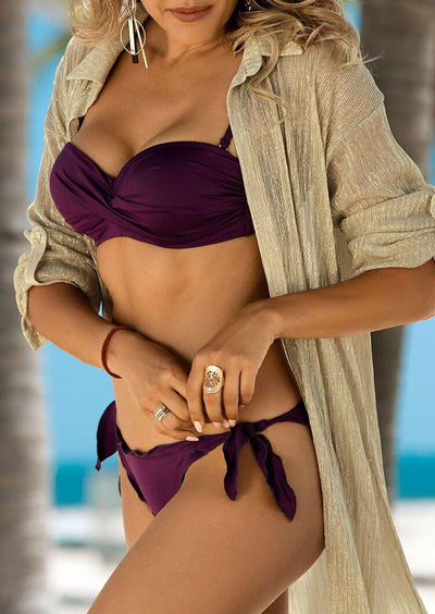 Ruffled Tie Sexy Bikini Set - Purple