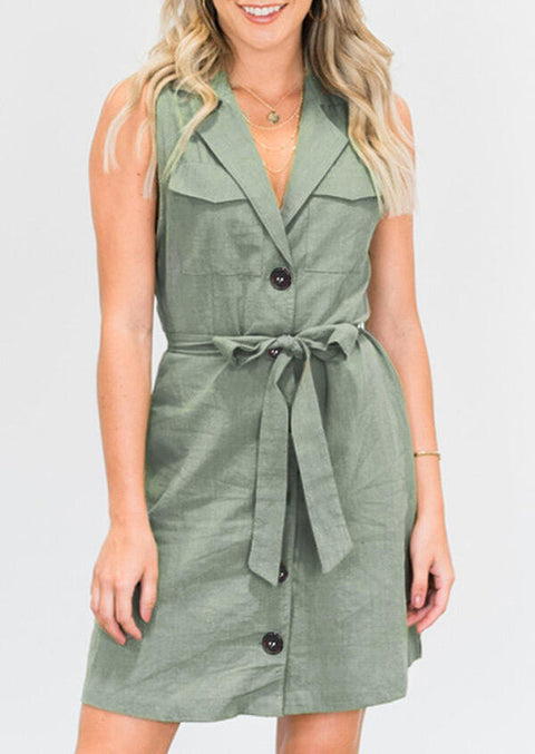 Button Pocket Tie Mini Dress without Necklace - Light Green