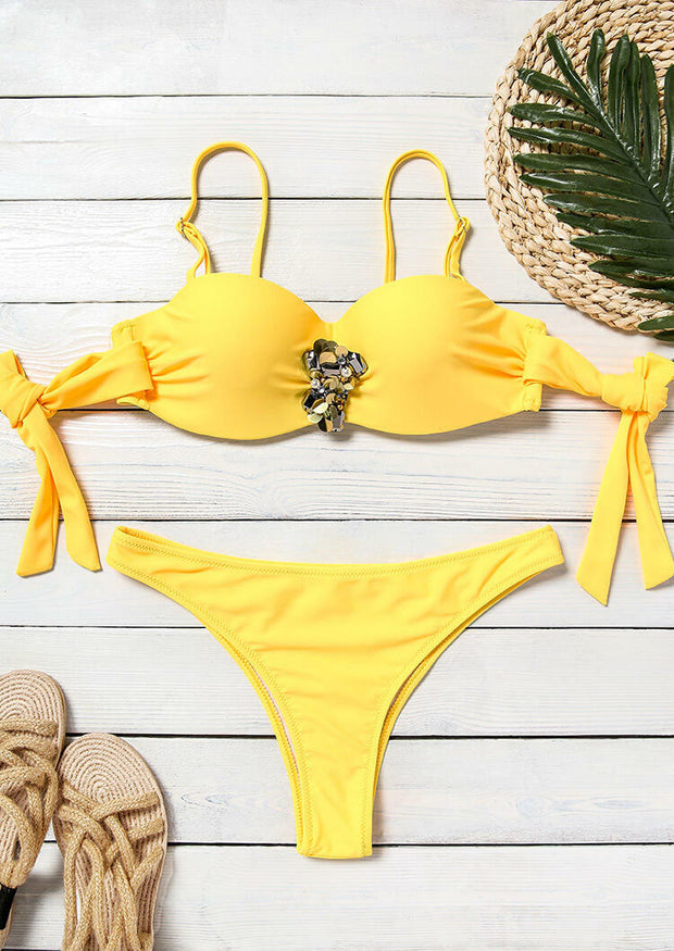 Rhinestone Tie Sexy Bikini Set - Lake Blue